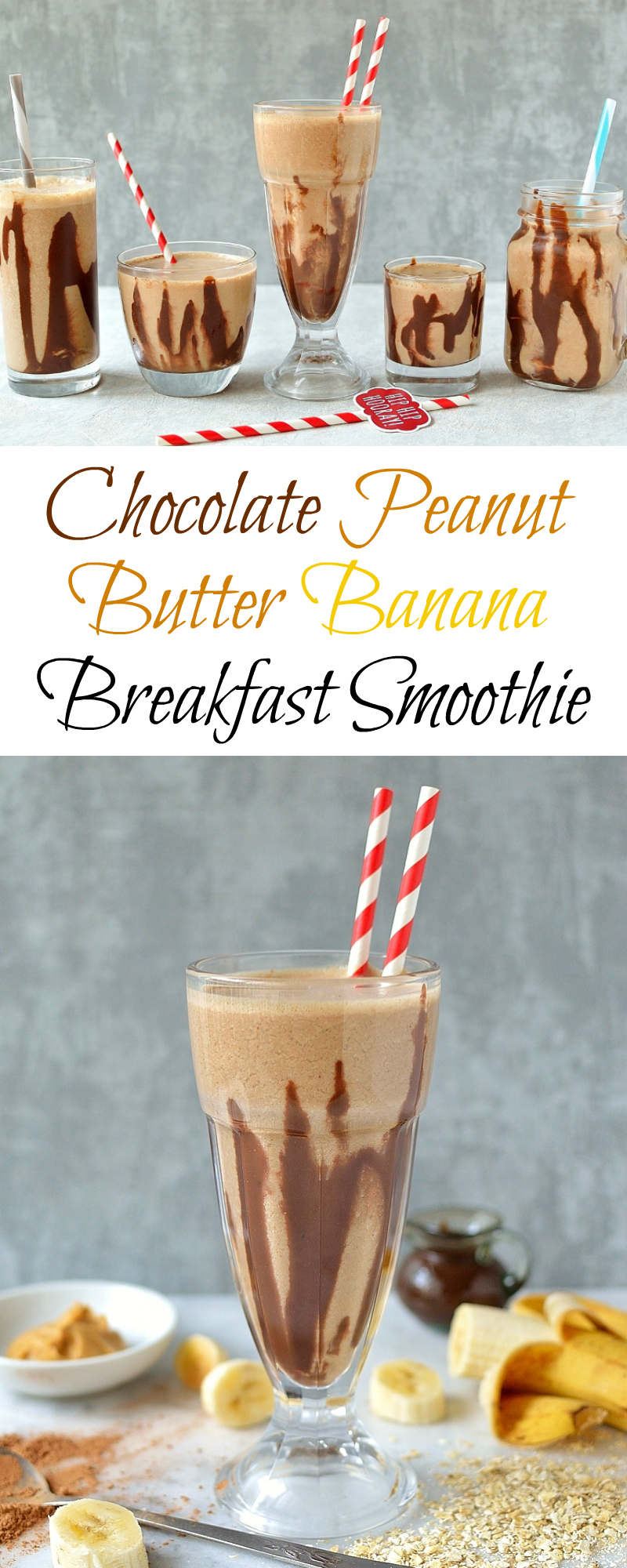 Chocolate peanut butter banana breakfast smoothie pinterest