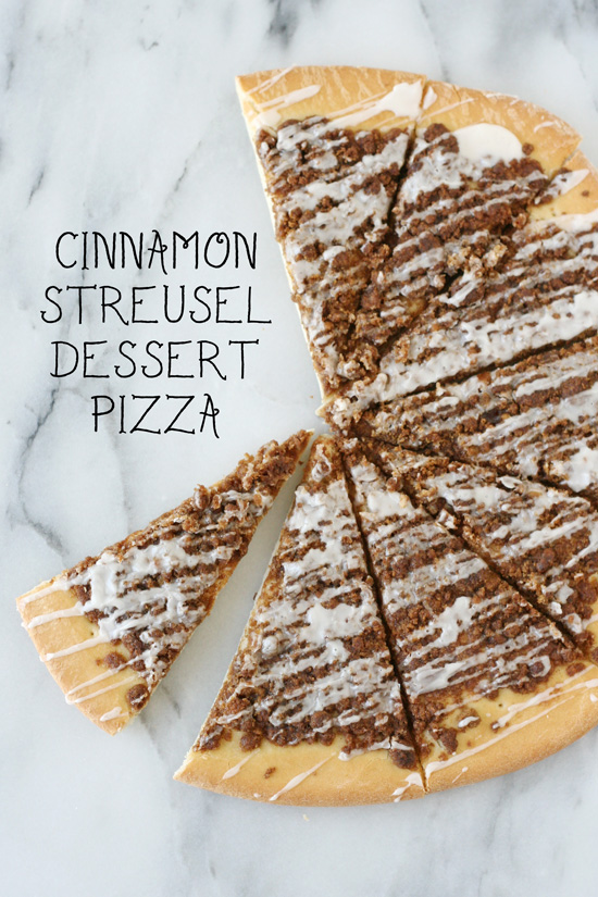 Cinnamon dessert pizza