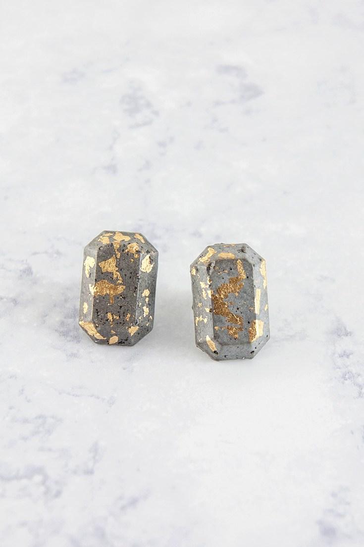 Diy concrete gold gem jewelry