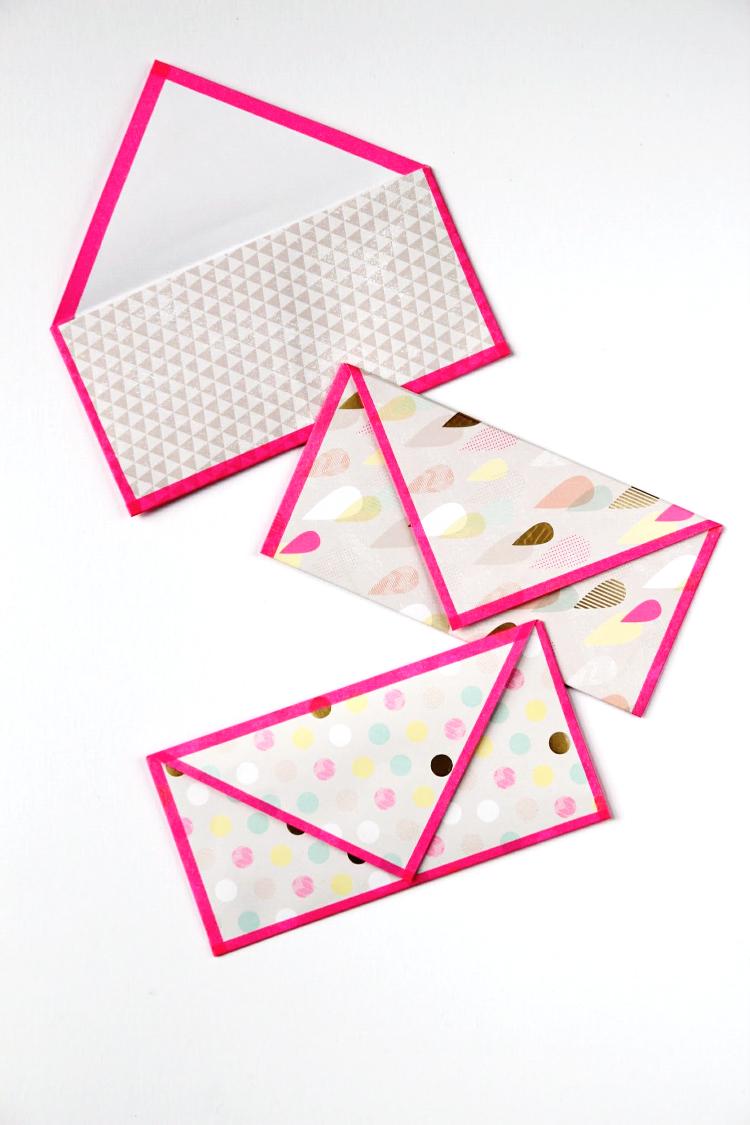 Diy folded paper envelopes with washi trim