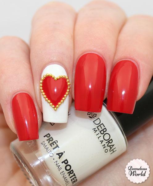 Deborah milano studded heart nail art1