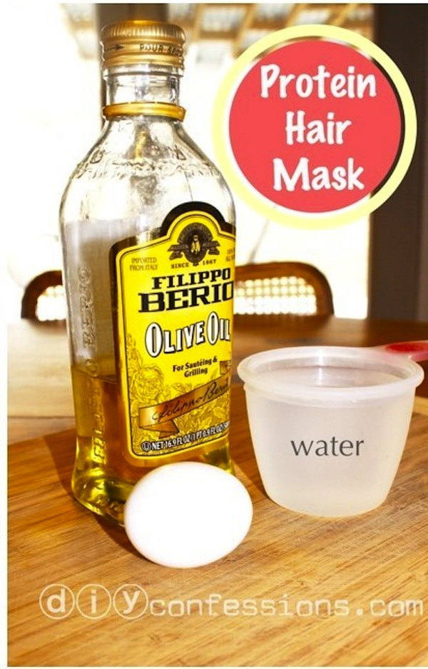 Egg and olive oil protein hair mask