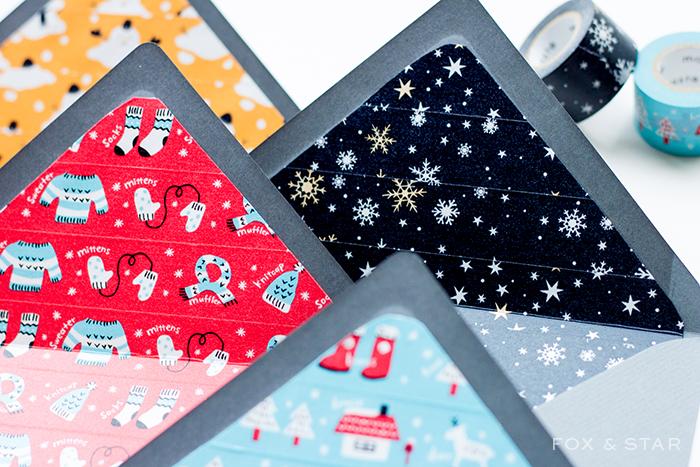 Envelope liners using washi tape