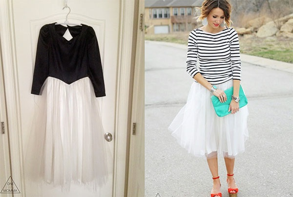 Formal dress into tulle skirt