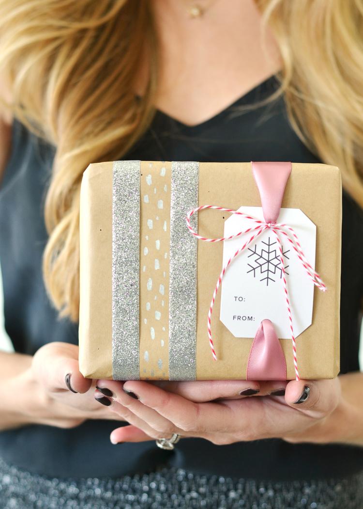 Gift wrap washi tape idea