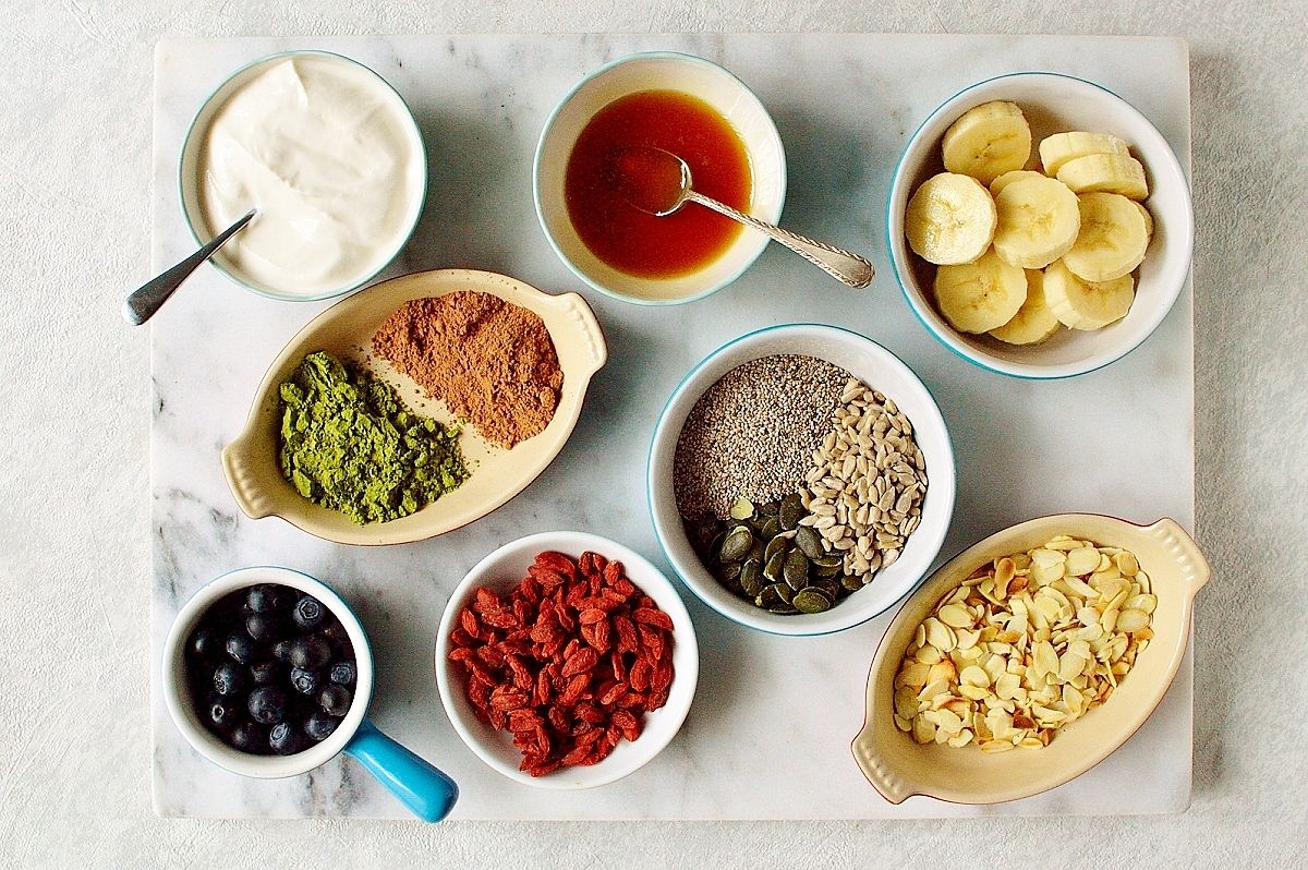 Healthy superfood pancakes toppings