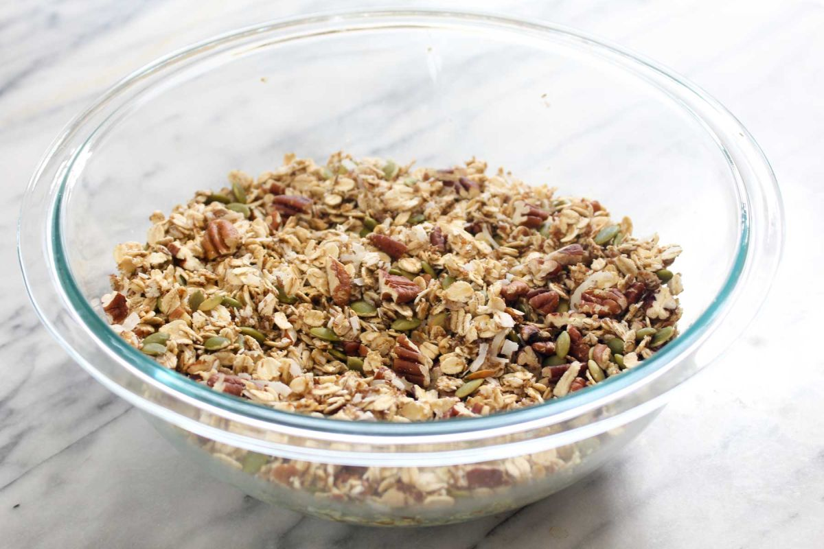 Homemade muesli cereal pecans and pepitas