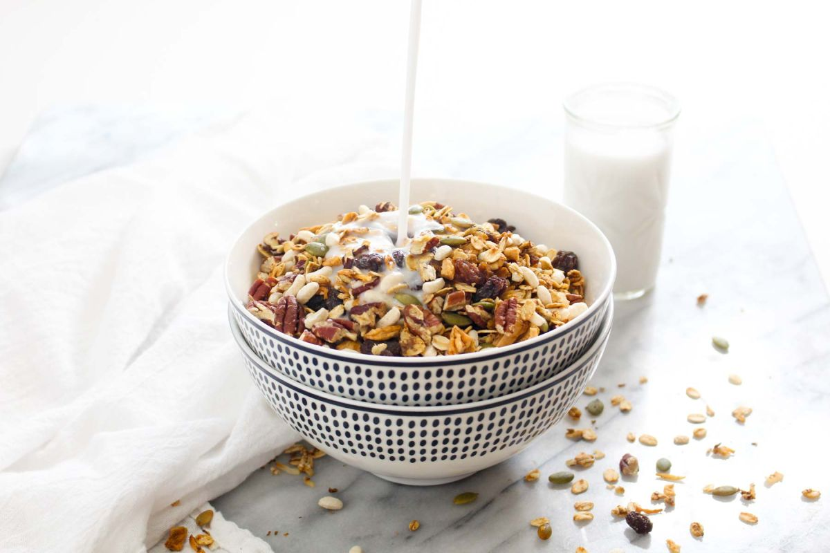 Homemade muesli cereal with milk