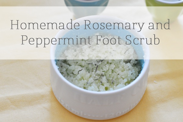 Homemade rosemary and peppermint foot scrub