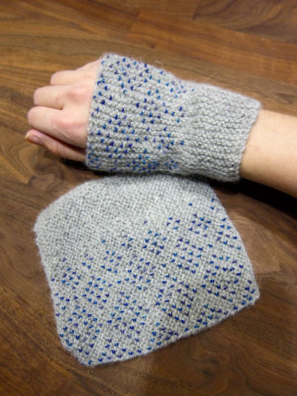 Knit wrist warmers with beads