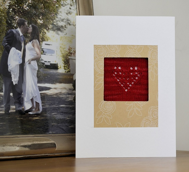Knitted valentine's day card