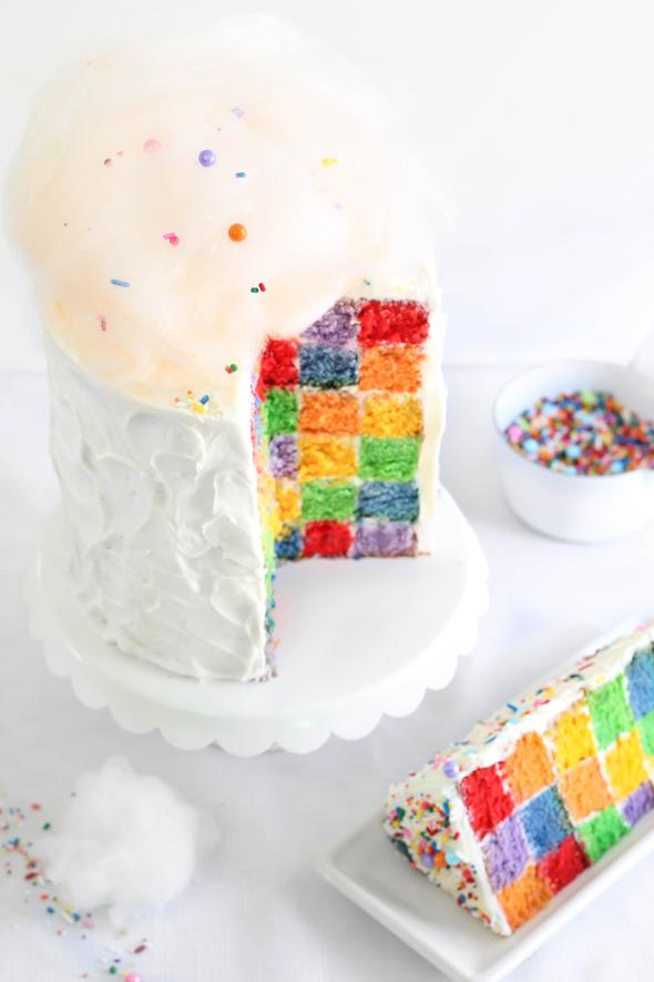 Lemon rainbow checkerboard cake