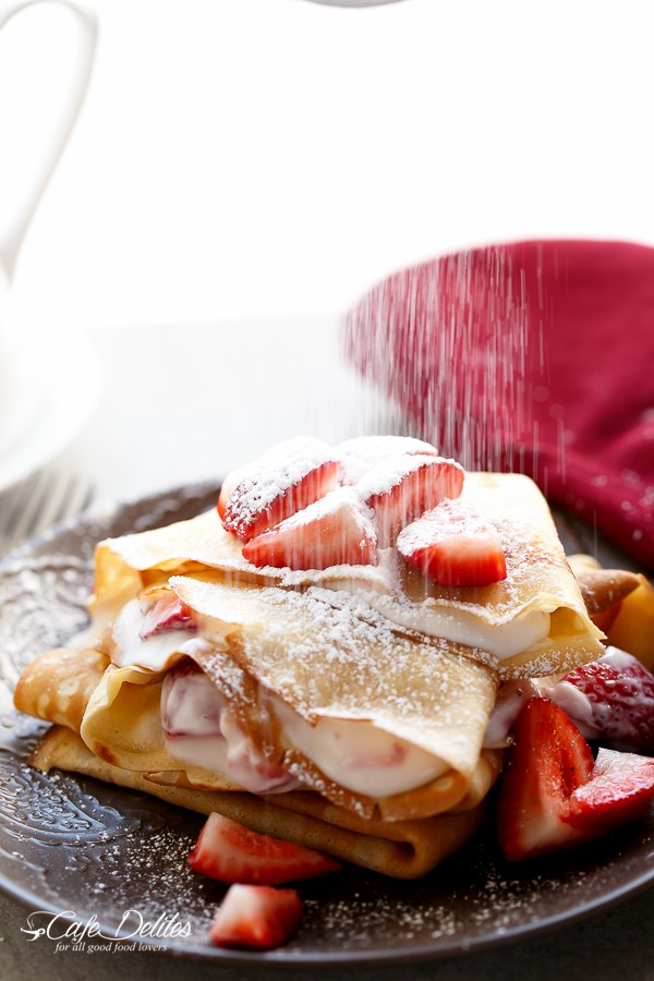 Macerated strawberries and cream crepes 24