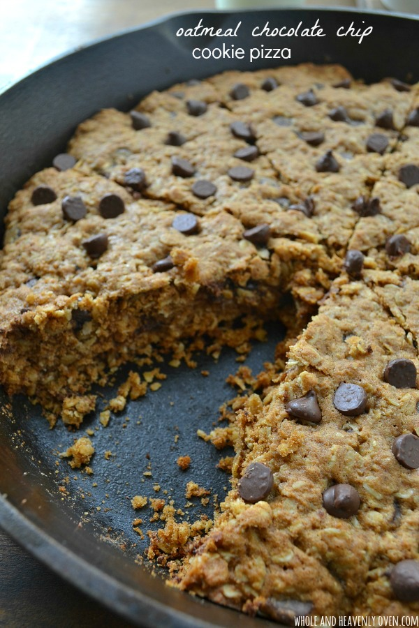 Oatmeal chocolate chip cookie pizza10