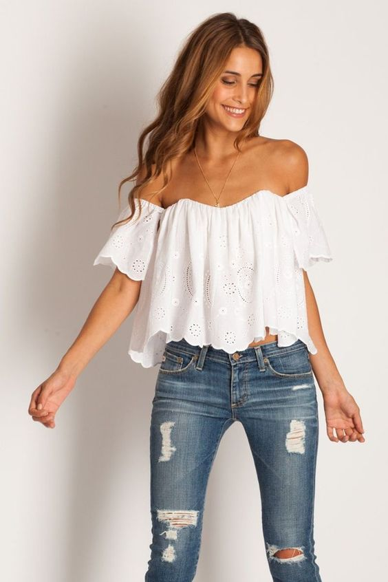 Off the shoulder blouse and jeans concert outfit