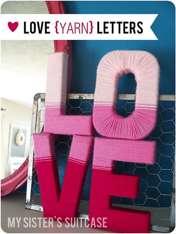 Ombre yarn letters