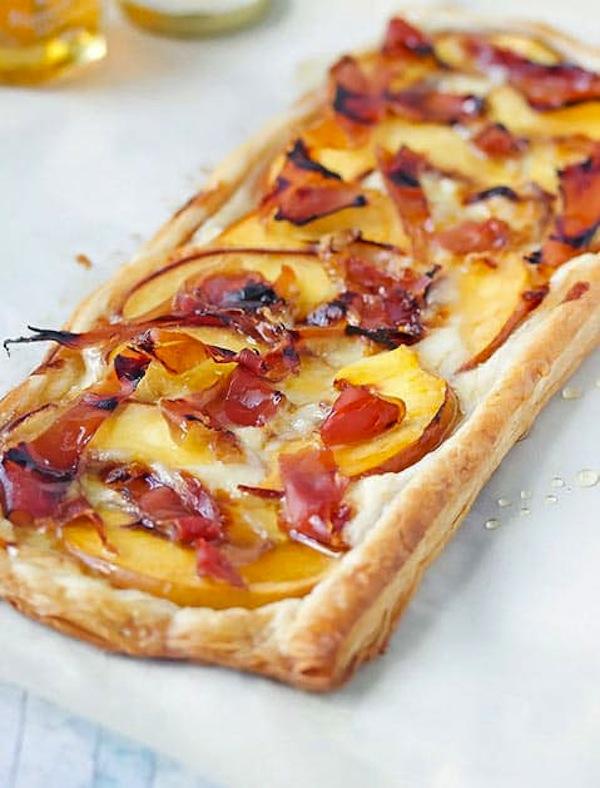 Peach, brie, and prosciutto tart