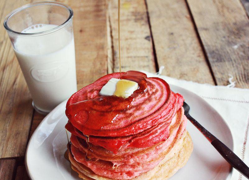 Pink vday pancake recipe
