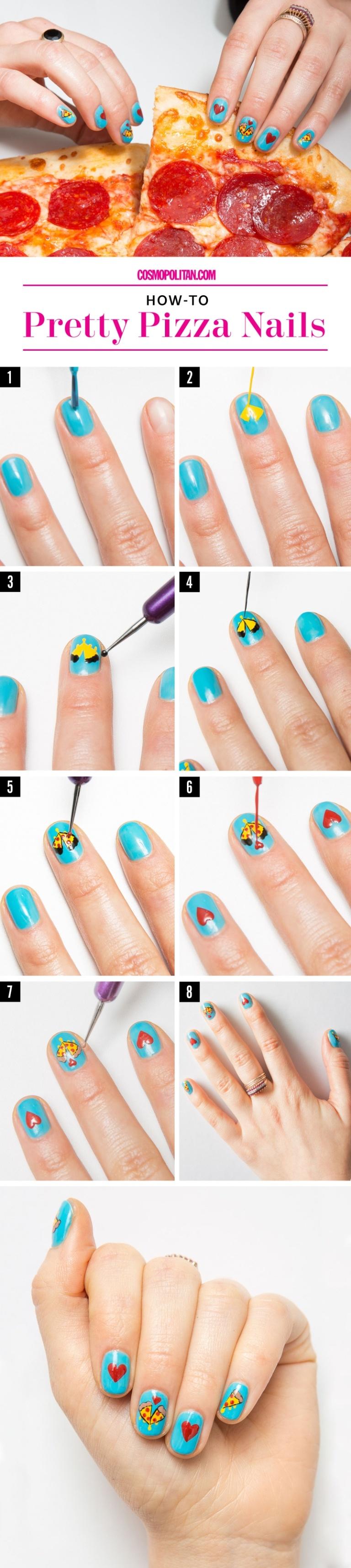 Pizza vday nails