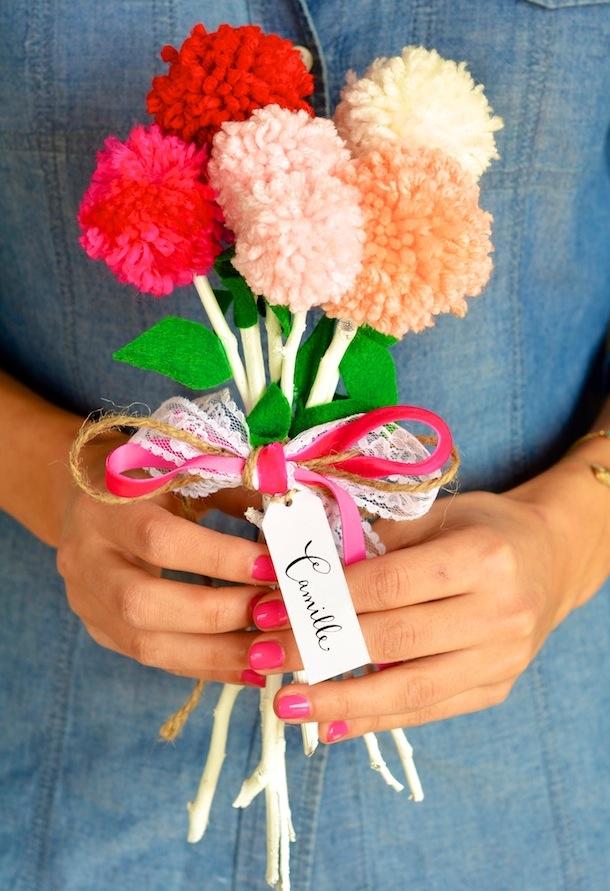 Pom flower bouquet diy