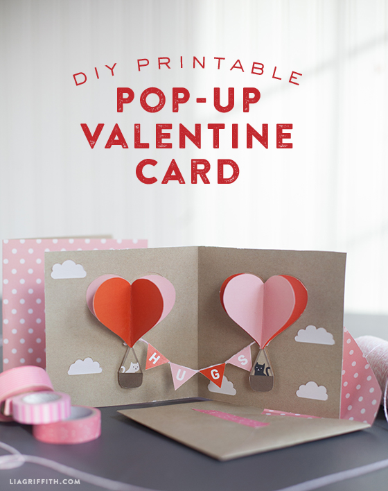 Pop up card valentines day kitty balloons