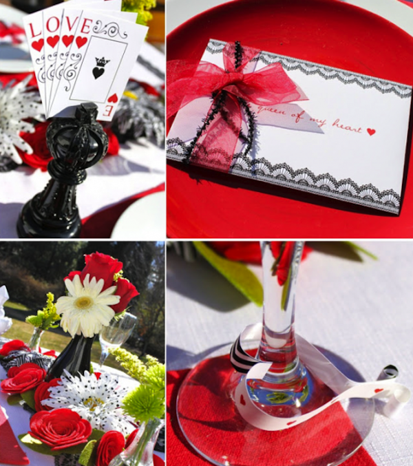 Queen of hearts tablescape