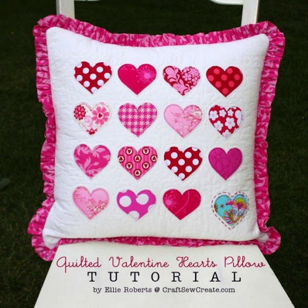 Quilted valentine heart pillow