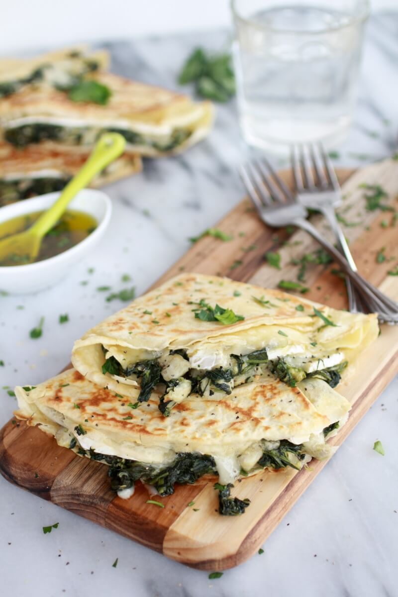 Spinach artichoke and brie crepes with sweet honey sauce 2