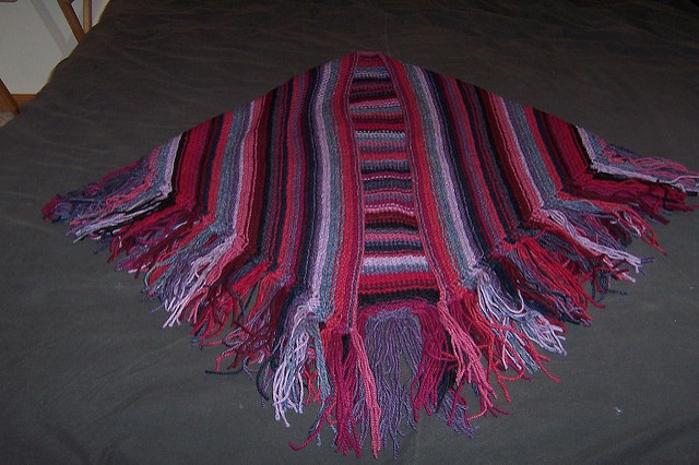 Striped shawl with fringe