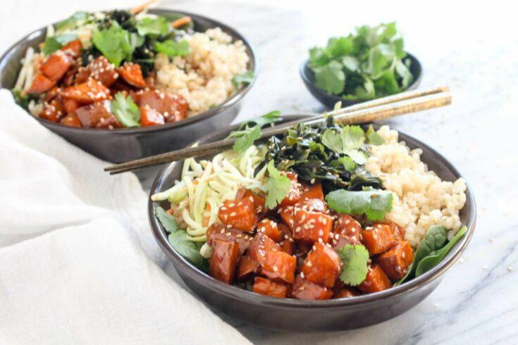 Teriyaki sweet potato rice bowls recipe