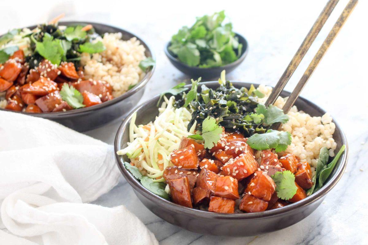 Teriyaki sweet potato rice bowls seerve