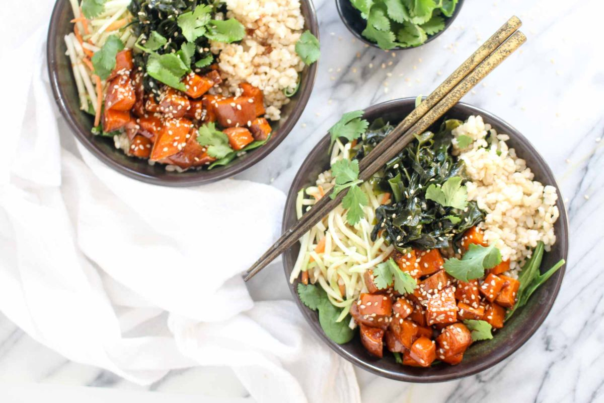 Teriyaki sweet potato rice bowls