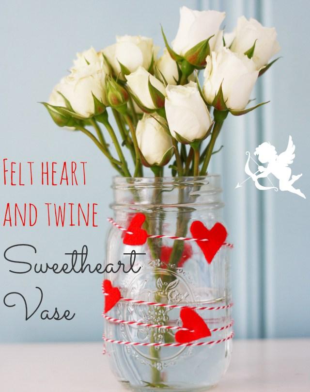 Valentine red felt heart vase