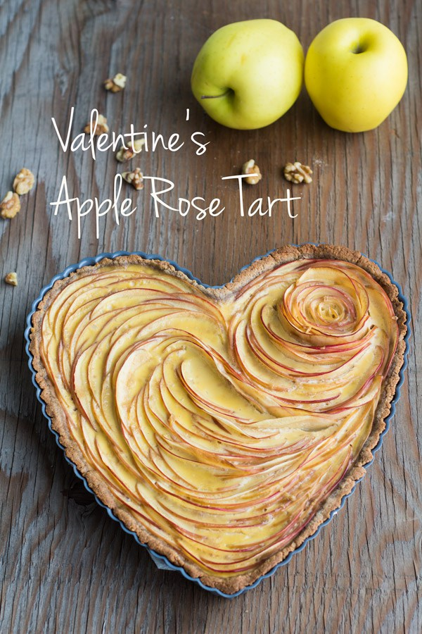 Valentines apple rose tart