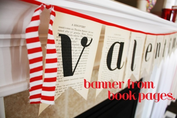 Valentine's day banner from book pages