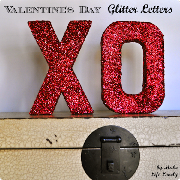Valentine's day glitter letters