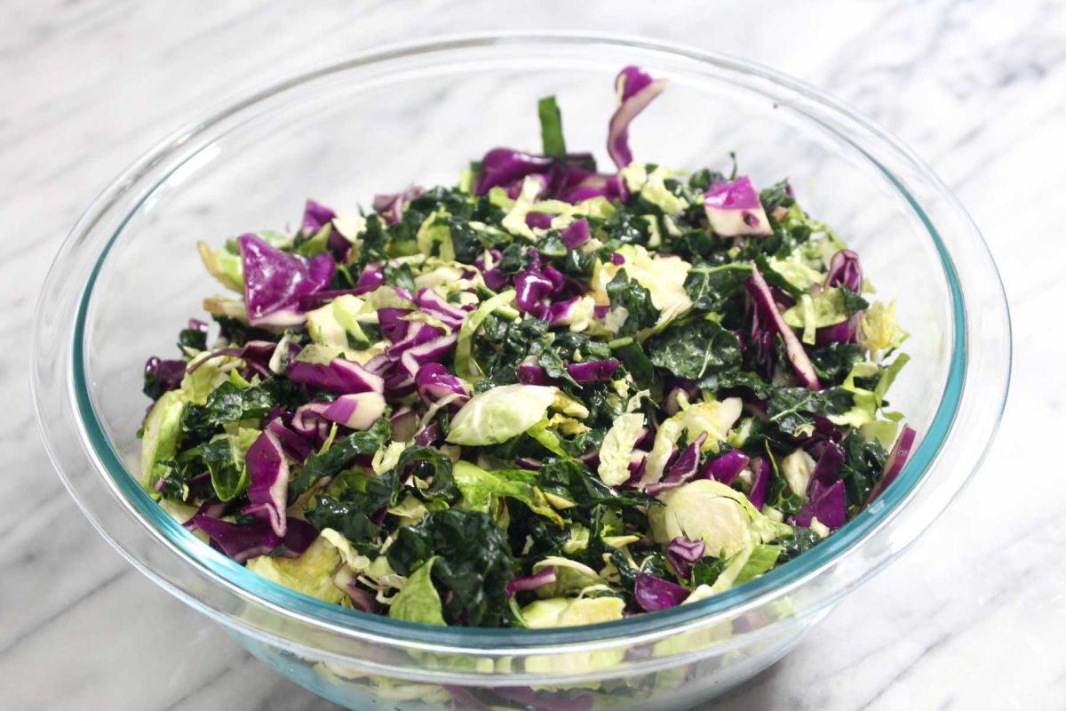 Winter kale salad brussel sprouts