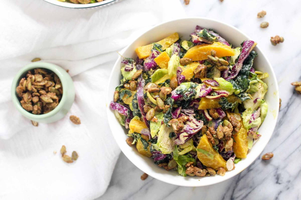 Winter kale salad serve