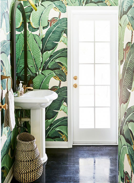Bathroom wallpaper botanical