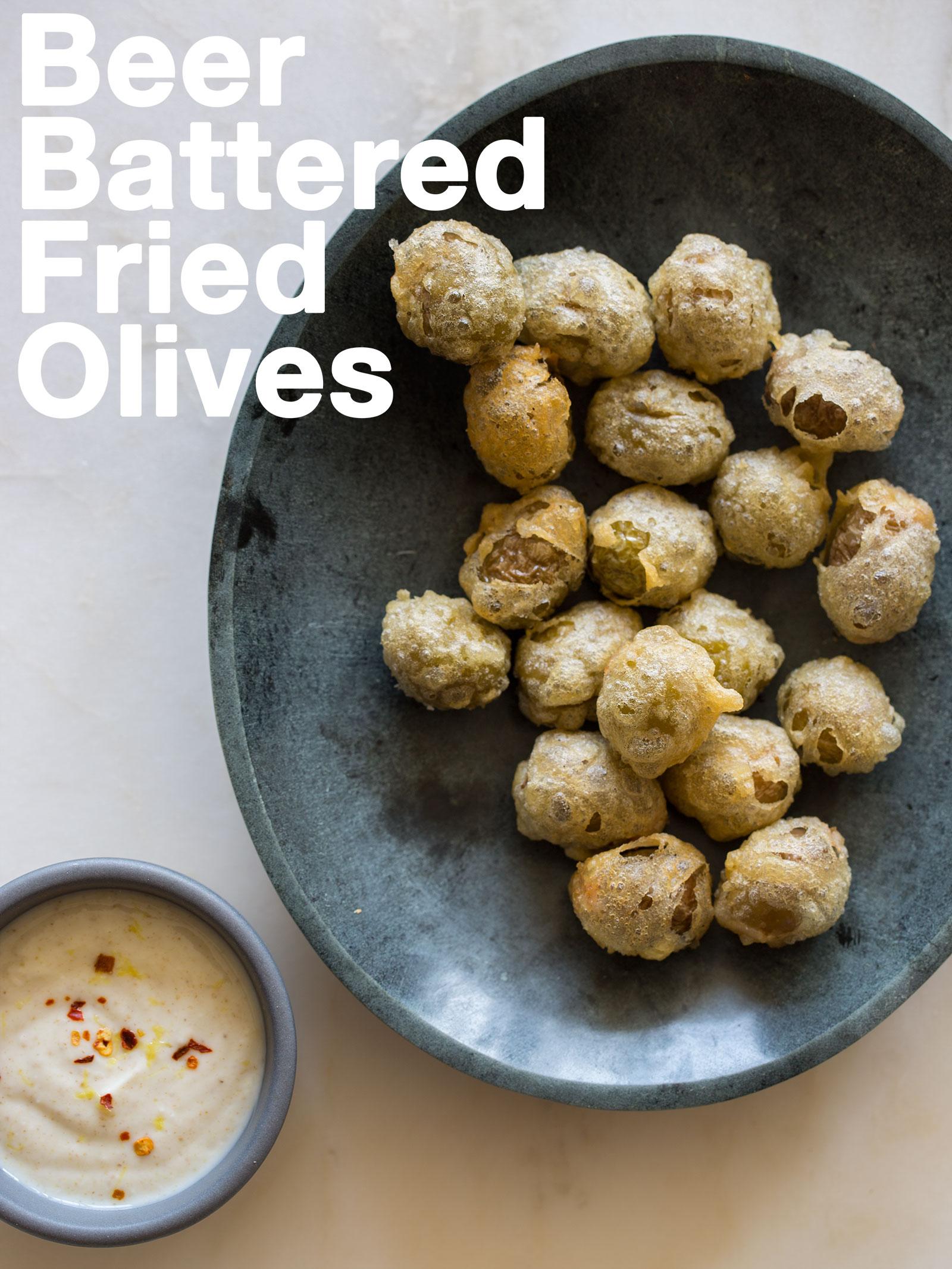 Beer battered fried olives