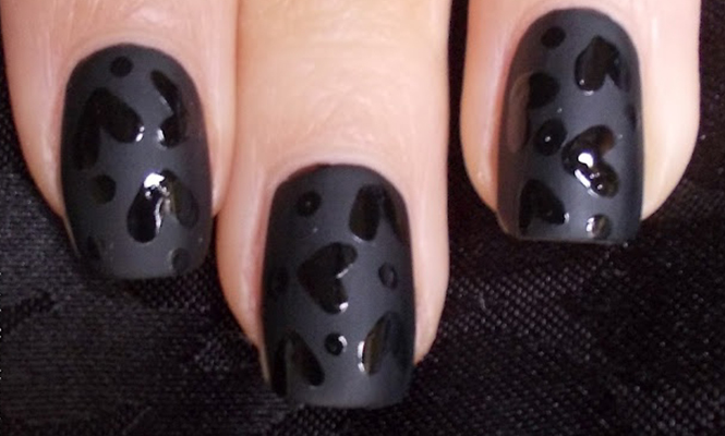 Black on black valentine's day nails
