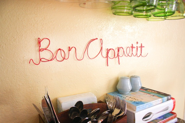 Bon appetie wire word art craft diy