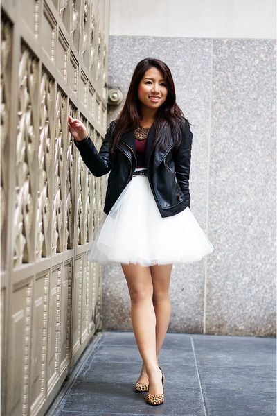 Brick red h ampm dress black jacket off white tulle mini space46 skirt 400