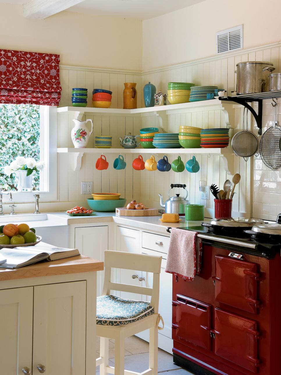 Colorful ceramic dishes kitchen