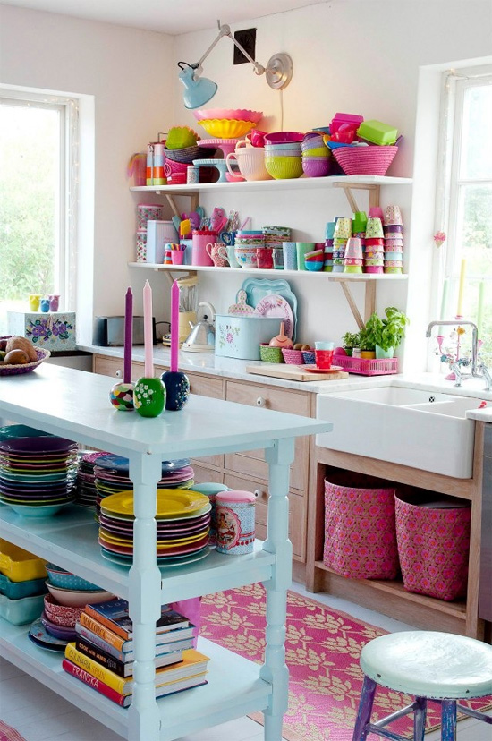 Colorful open shelving in kitchen