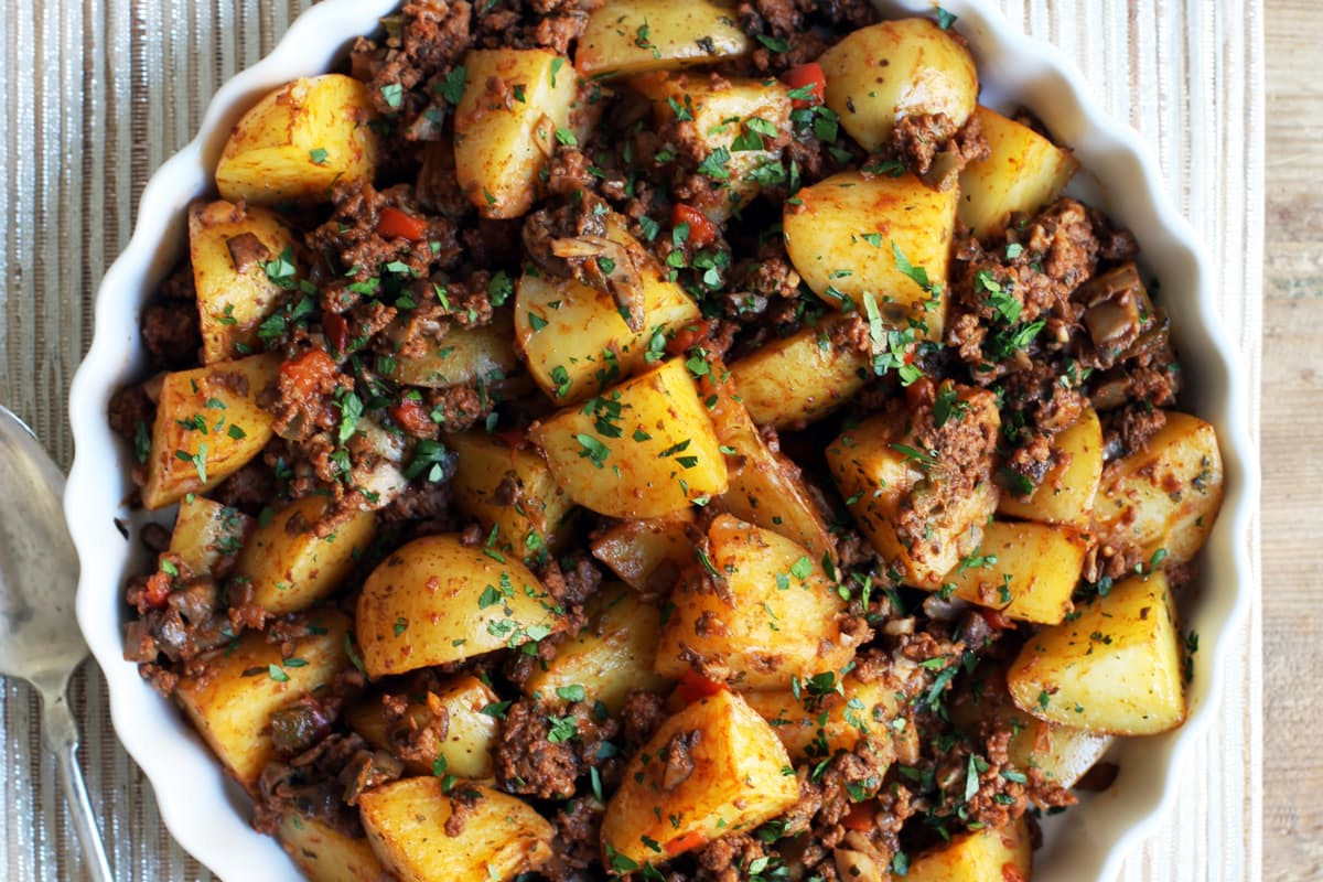 Cuban meaty potato stuffing