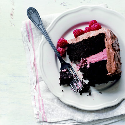 Dark chocolate cake and raspberry recipe