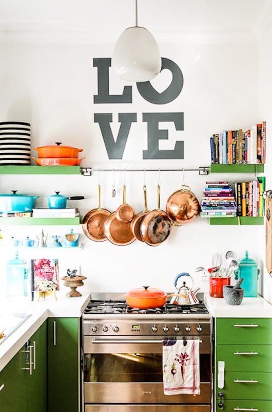 Dark green colorful kitchen cabinets