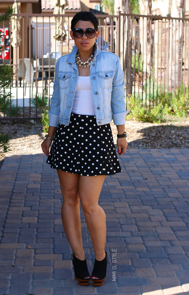 Denim jacket and polka dot skirt