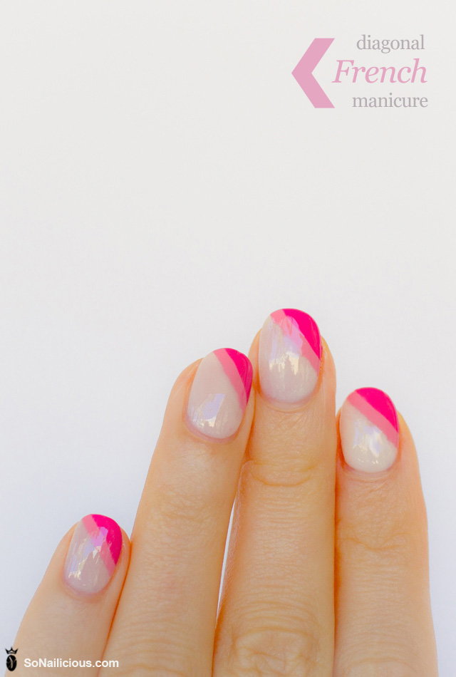 Diagonal french manicure pink nails